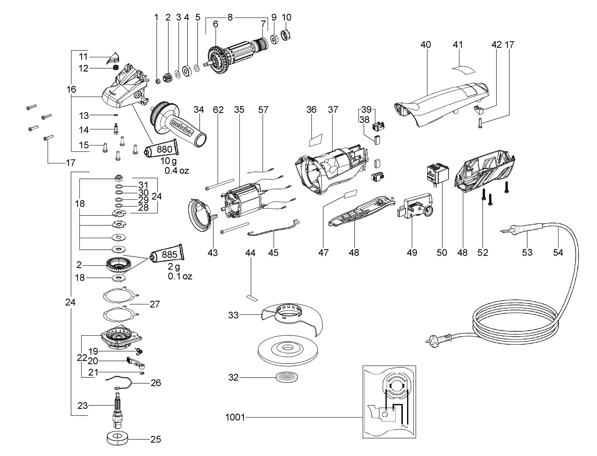 metabo 00304190 wepa 14-125 quickprotect au 1400w 125mm angle ... metabo wiring diagram  spare parts world